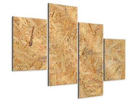 Metallic-Bild 4-teilig modern Gepresstes Holz
