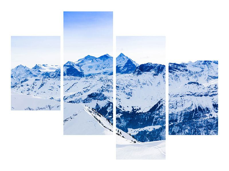 Metallic-Bild 4-teilig modern Die Schweizer Alpen