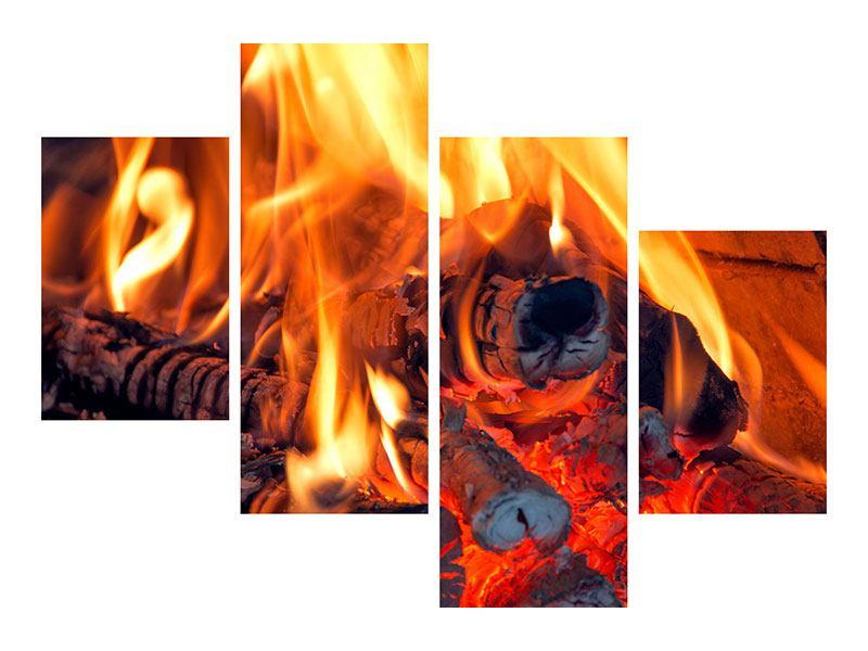 Metallic-Bild 4-teilig modern Lagerfeuer