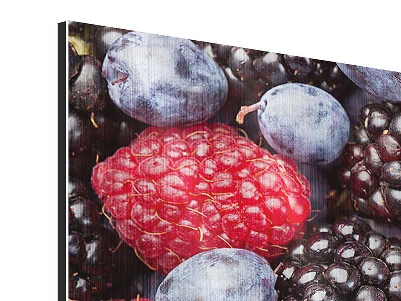 Metallic-Bild 4-teilig modern Beeren