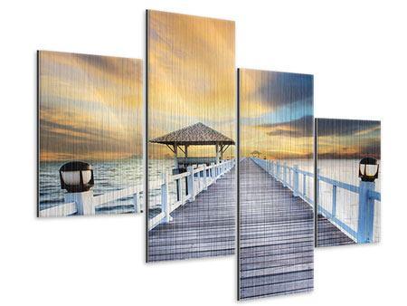 Metallic-Bild 4-teilig modern Die Brücke ins Meer