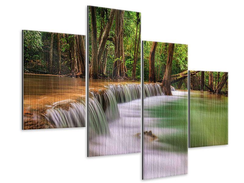 Metallic-Bild 4-teilig modern Deep Forest