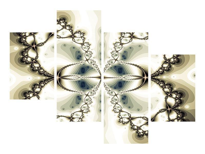 Metallic-Bild 4-teilig modern Abstrakter Schmetterling