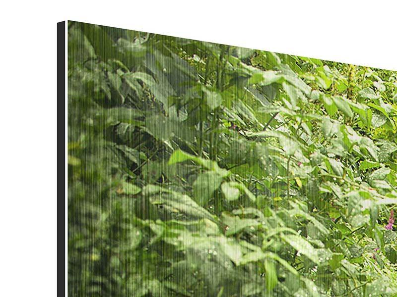 Metallic-Bild 4-teilig modern Gartenweg