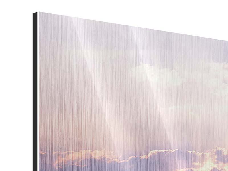 Metallic-Bild 4-teilig modern Sonnenaufgang am Meer