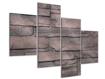 Metallic-Bild 4-teilig modern Luxusmauer
