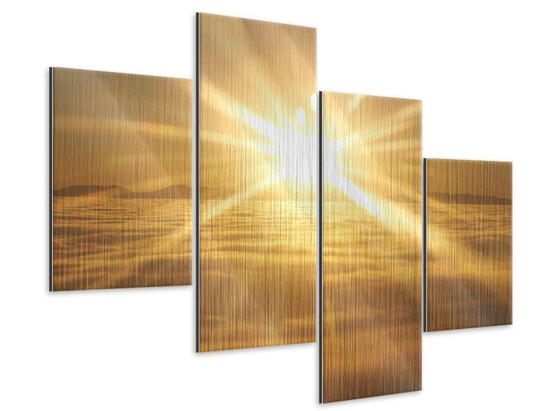 Metallic-Bild 4-teilig modern Über dem Wolkenmeer