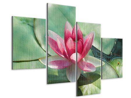 Metallic-Bild 4-teilig modern Der Frosch und das Lotusblatt