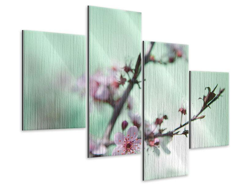 Metallic-Bild 4-teilig modern Die japanische Kirschblüte