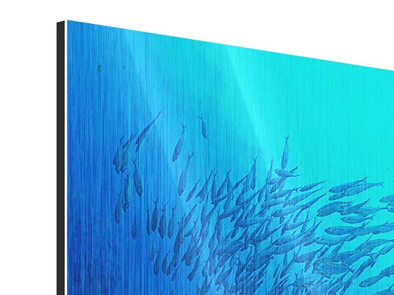 Metallic-Bild 4-teilig modern Fischwelt