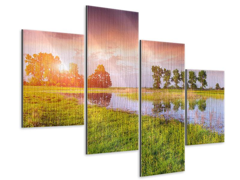 Metallic-Bild 4-teilig modern Sonnenuntergang am See