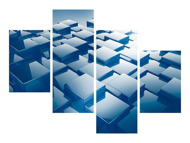 Metallic-Bild 4-teilig modern 3D-Cubes