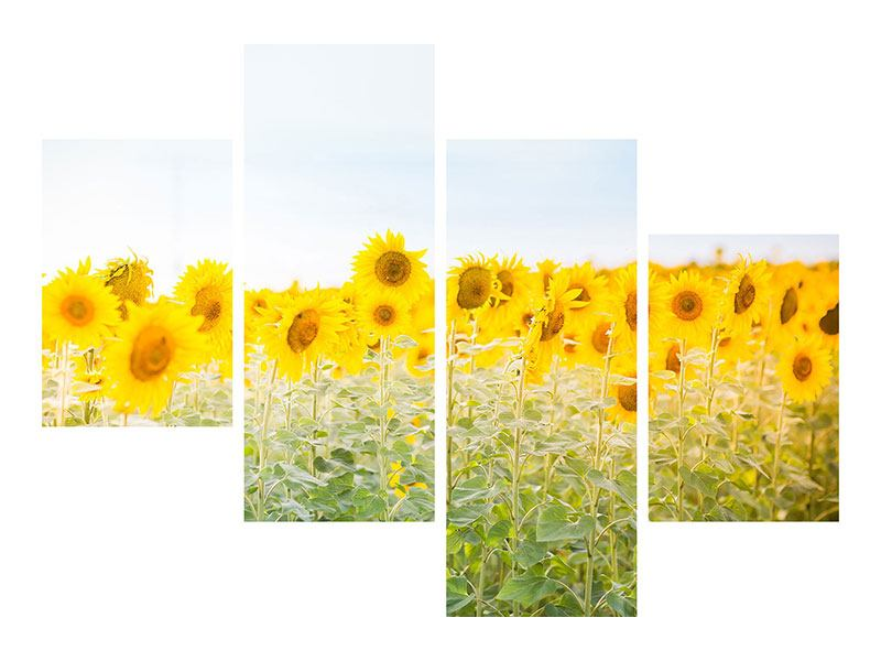 Metallic-Bild 4-teilig modern Im Sonnenblumenfeld