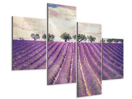 Metallic-Bild 4-teilig modern Das Lavendelfeld