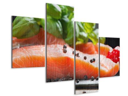 Metallic-Bild 4-teilig modern Frischer Fisch
