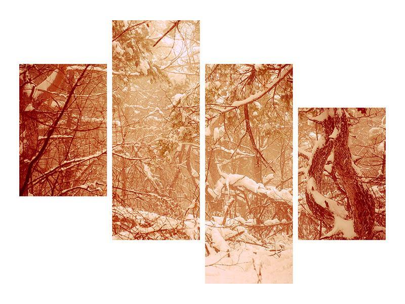 Metallic-Bild 4-teilig modern Schneewald