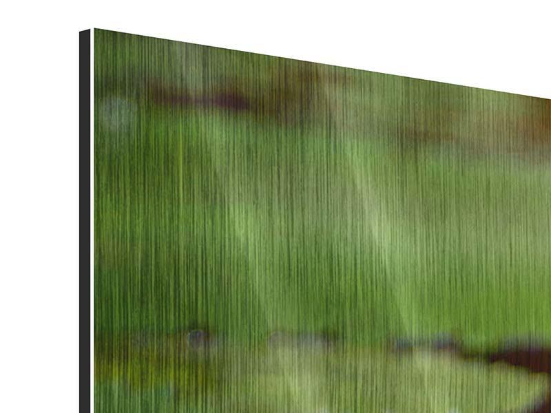 Metallic-Bild 4-teilig modern Lotus im Wasser