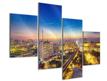 Metallic-Bild 4-teilig modern Bangkok