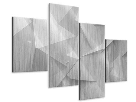 Metallic-Bild 4-teilig modern 3D-Raster