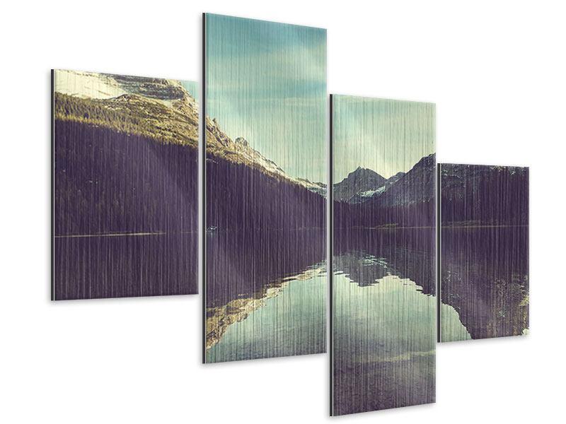 Metallic-Bild 4-teilig modern Spiegelung im Bergsee