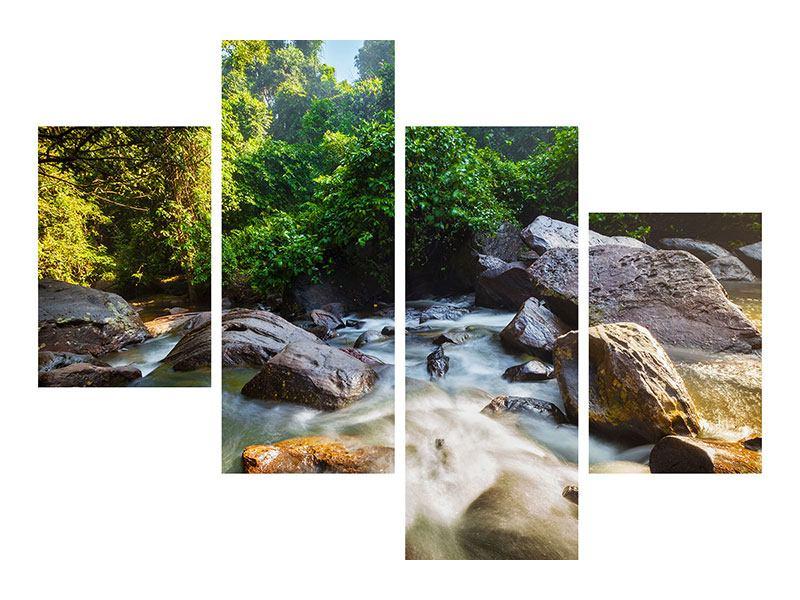 Metallic-Bild 4-teilig modern Das Gewässer
