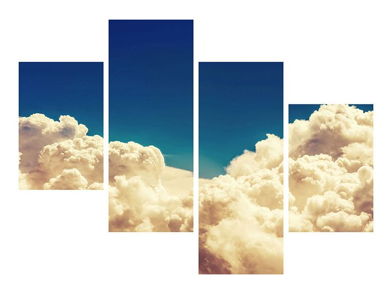 Metallic-Bild 4-teilig modern Himmelswolken