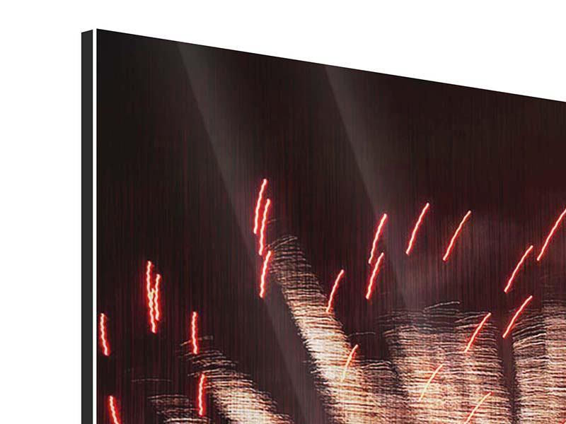 Metallic-Bild 4-teilig modern Close Up Feuerwerk