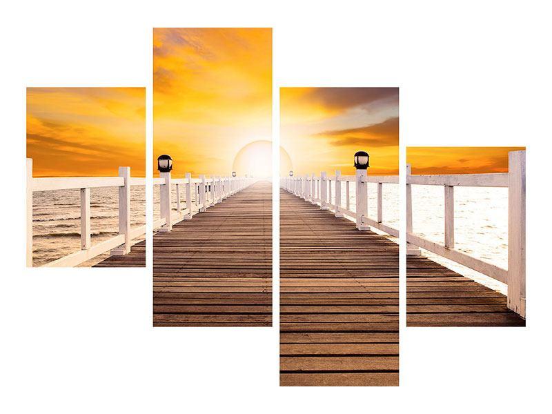 Metallic-Bild 4-teilig modern Die Brücke Ins Glück