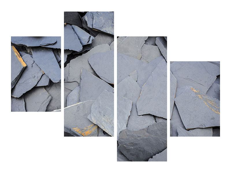 Metallic-Bild 4-teilig modern Schieferplatten