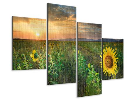 Metallic-Bild 4-teilig modern Sonnenblumenfeld im Abendrot