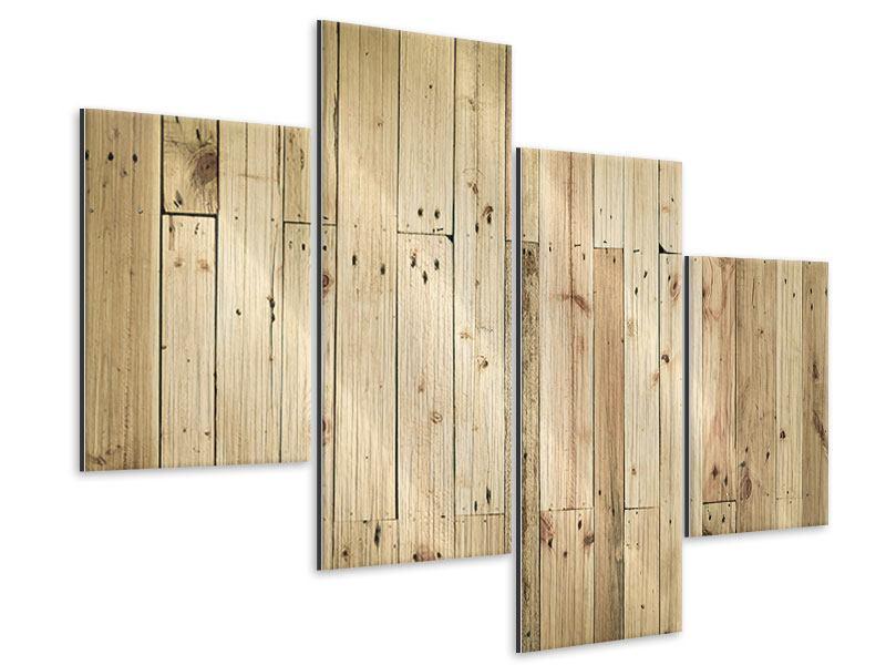 Metallic-Bild 4-teilig modern Holzpaneelen