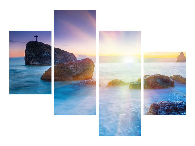 Metallic-Bild 4-teilig modern Mystisches Meer
