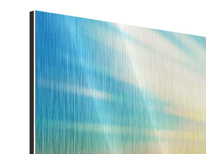 Metallic-Bild 4-teilig modern Sonnenuntergang über den Wolken