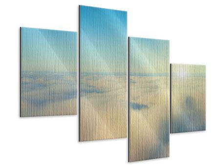 Metallic-Bild 4-teilig modern Dämmerung über den Wolken