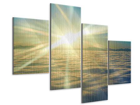 Metallic-Bild 4-teilig modern Sonnenaufgang über den Wolken