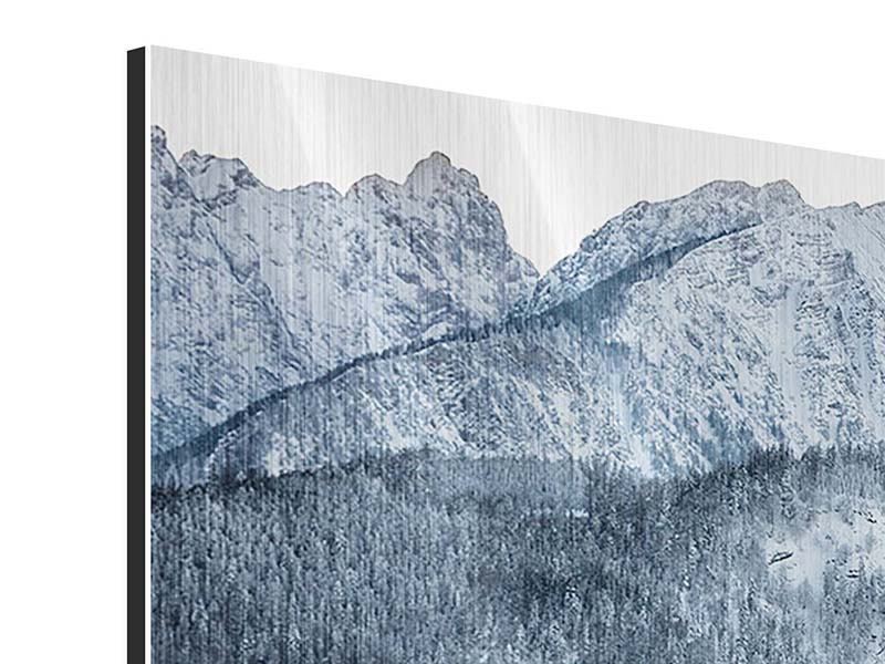 Metallic-Bild 4-teilig modern Schwarzweissfotografie Berge