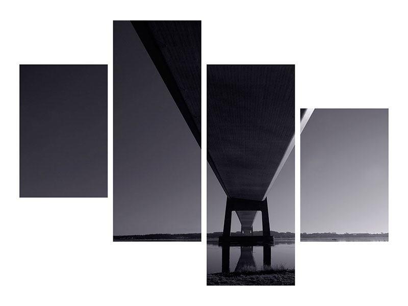 Metallic-Bild 4-teilig modern Die Brücke über tiefes Wasser