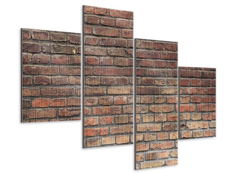 Metallic-Bild 4-teilig modern Brick Wall