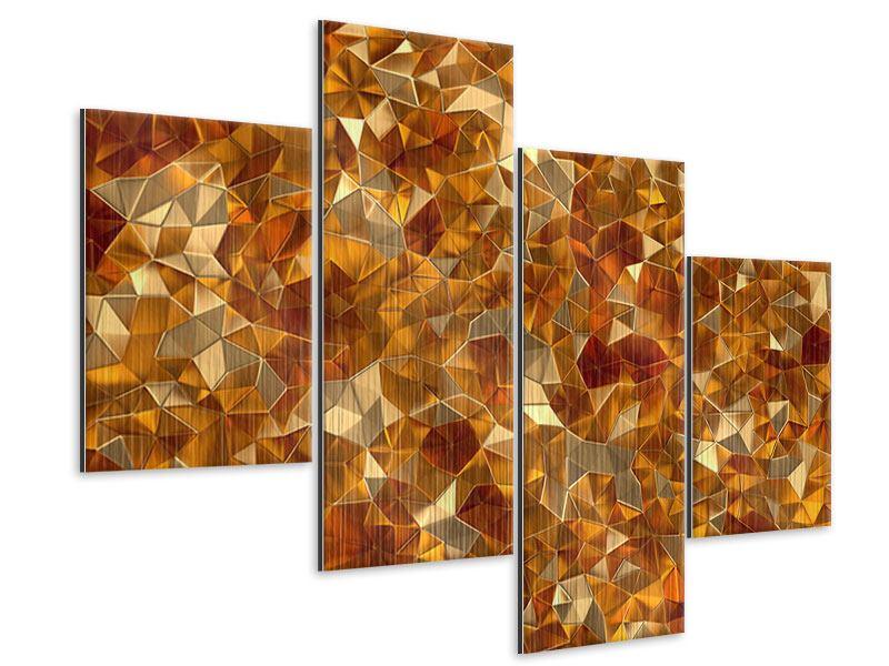 Metallic-Bild 4-teilig modern 3D-Bernsteine