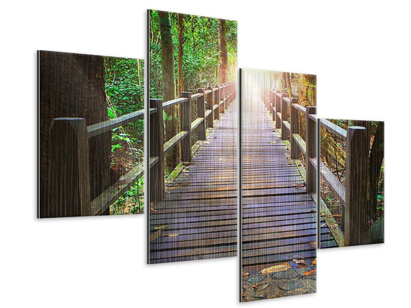 Metallic-Bild 4-teilig modern Die Brücke im Wald