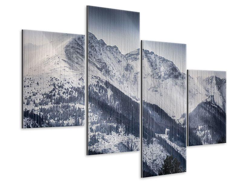 Metallic-Bild 4-teilig modern Die Berge der Schweiz