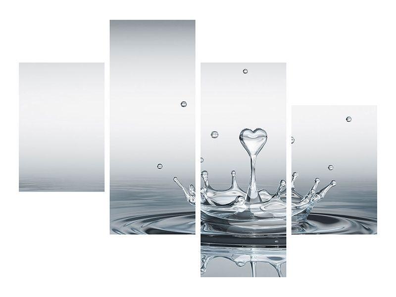 Metallic-Bild 4-teilig modern Wasserfigur