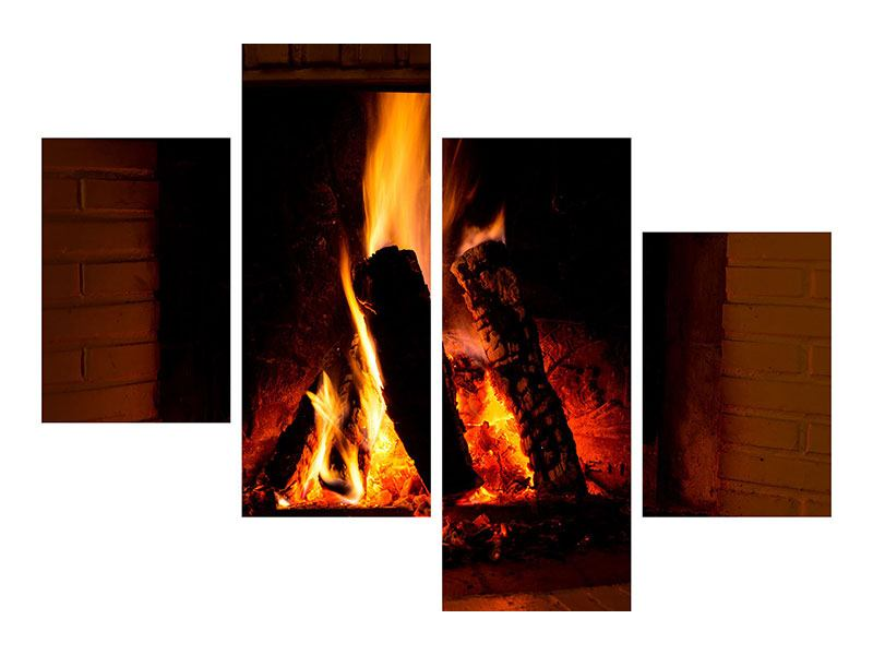 Metallic-Bild 4-teilig modern Feuer im Kamin