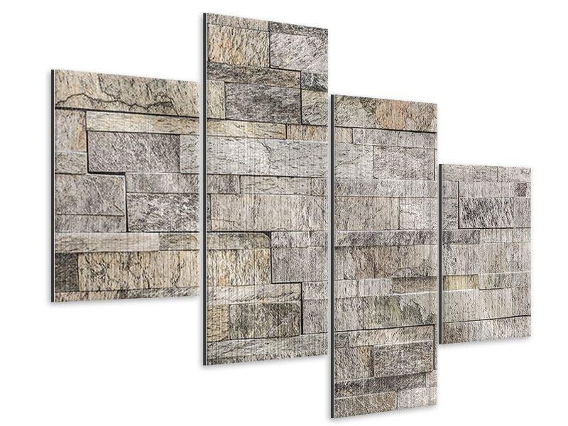 Metallic-Bild 4-teilig modern Elegante Steinmauer