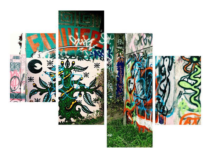 Metallic-Bild 4-teilig modern Graffiti im Hinterhof