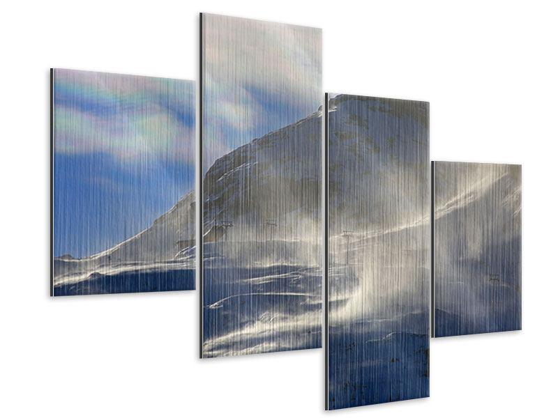 Metallic-Bild 4-teilig modern Mit Schneeverwehungen den Berg in Szene gesetzt