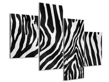 Metallic-Bild 4-teilig modern Zebramuster