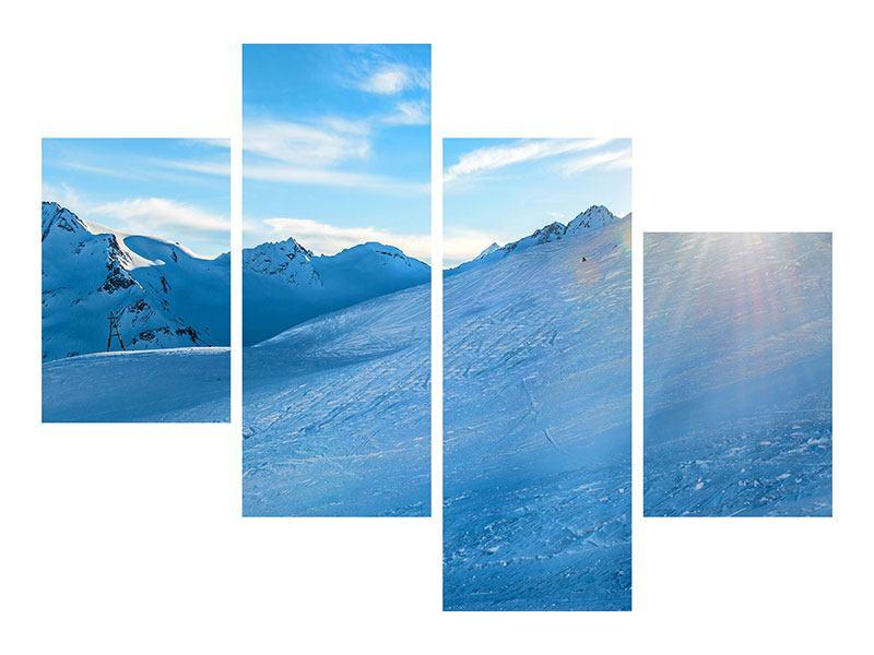 Metallic-Bild 4-teilig modern Sonnenaufgang in den Bergen