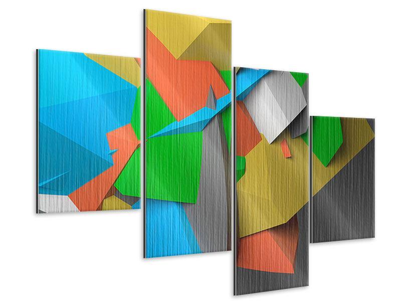 Metallic-Bild 4-teilig modern 3D-Geometrische Figuren
