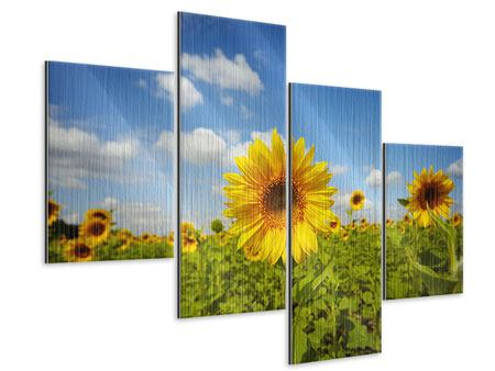 Metallic-Bild 4-teilig modern Sommer-Sonnenblumen